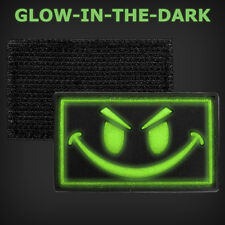 Smiley Face V1 Morale 3D PVC Airsoft Tacitcal Patch Green GLOW In Dark 2x1 1/8""