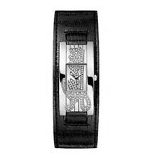 NEW GUESS BLACK LEATHER CUFF, SILVER S/STEEL TONE , GUESS LOGO WATCH-W80055L1