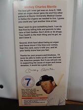 1996 MICKEY MANTLE FOUNDATION ORGAN DONOR DONATION CARD - MINT