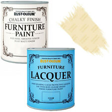 Rust-Oleum Chalky Furniture Paint Chic Shabby 125ml Clotted Cream Clear Lacquer