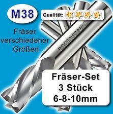 Fräser-Set 6 8 10mm für Metall Kunststoff Holz etc., M38, vergl. HSSE, HSS-E