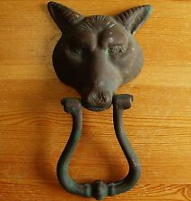 Vintage Large Wolf Fox Head Brass Door Knocker w/ Patina NOT Stripped Polished