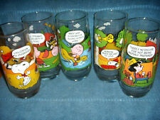 7 COMPLETE VTG SET 5  MCDONALD'S CAMP SNOOPY GLASS PEANUTS SNOOPY CHARLIE BROWN