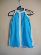 LULULEMON Hip To Be Zen Padded Halter Tank Top  Spry Blue & White Yoga Spin  12