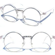 Round Half Frame Browline Retro Clear Lens Glasses Classic Transparent Style