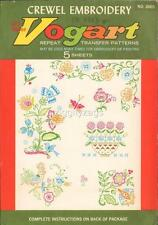 VOGART Repeat Vintage Transfer Patterns Crewel Embroidery Birds Rooster 2003