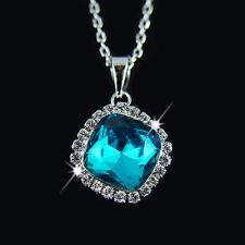 18k white Gold GF Swarovski crystals blue pendant necklace