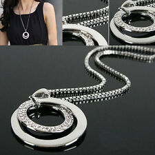 Crystal Rhinestone Silver ROUND BEADED Long Chain Pendant Necklace FASHION ONE