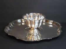 "International Silver Co Chippendale Set, Scalloped Serving Tray 13"" w Sauce Bowl"