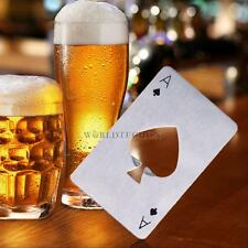 New Stylish Poker Stainless Steel Poker Playing Card  Beer Bottle Cap Opener #W