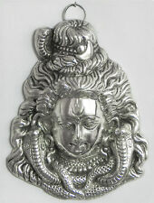 **Beautiful** Medium Silver Coloured Shiva Hindu Metal Wall Plaque Mask