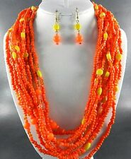 Multi Orange Seed Bead And Faceted Glass Bead Five Long Necklace Earring Set