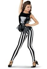 Women's Cell Block Tango Dance Dancing Costume Striped Tights Jail Prison Sz M