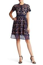 NEW BLUE & NUDE Lace ILLUSION SCALLOPED VICTORIAN Tea Length COCKTAIL DRESS S