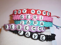 HANDMADE PERSONALISED FRIENDSHIP BRACELET, CZECH GLASS LETTER BEADS, COTTON CORD
