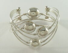 925 sterling silver wide crisscross wire cuff bracelet with hollow balls
