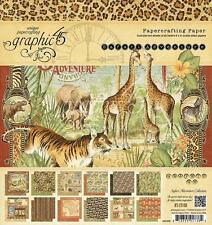 Graphic 45 SAFARI Adventure 8x8 Paper Pad Jungle Africa 24 Sheets Mixed Media