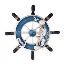 "9"" Beach Wooden Boat Ship Steering Wheel Fishing Net Home Wall Decor #2 UK"