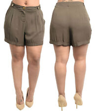 OLIVE SIZE 14 NeW LAdY fAShion PLUS SIZE Olive Mini Soft cAsuAL sUMMEr ShoRts