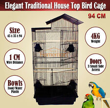 94CM Elegant Traditional House Top Bird Cage Carry Cage Black Color