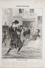 DAUMIER 1842 Emotions Parisiennes Flanerie par le dégel, Boule de neige