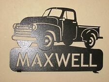 CUSTOM  1953 CHEVY PICKUP MAILBOX TOPPER SIGN (YOUR NAME) BLACK POWDER COAT