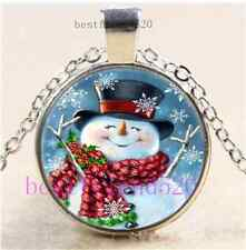 Cute Snowman Photo Cabochon Glass Tibet Silver Chain Pendant Necklace