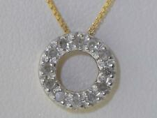 "14K GOLD DIAMOND DAINTY 'CIRCLE OF LIFE' PENDANT NECKLACE 10mm 18""14K GOLD CHAIN"