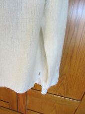 JUICY COUTURE OFF SHOULDER SWEATER M/L white so soft poly mohair wool LS ~