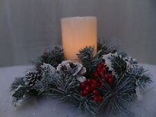"Gerson LED Candle Red Berry Snowy Pinecone Ring 12"" Christmas Centerpiece #C197"