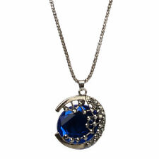 Retro Women's Jewelry Blue Crystal Moon Long Pendant Sweater Chain Necklace