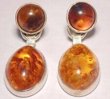 Vintage Estate Antique Sterling Silver 925 Dangle Baltic Amber Pierced Earrings