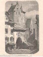 Antique print street St. Gallen Switzerland / holzstich Sankt Schweiz 1879