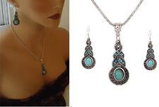 Vintage  Women Turquoise Crystal Tibetan Silver Pendant Necklace Earring Set