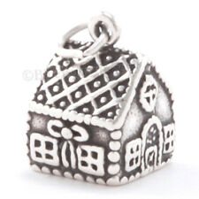 3D GINGER BREAD MAN HOUSE Charm Pendant 925 STERLING SILVER Christmas Candy