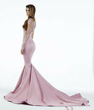 Mermaid Prom Dress Pink High Neck Long Sleeves Lace Applique Party Evening Gown