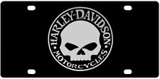 harley davidson motorcycle acrylic chrome license plate tag car willie g skull