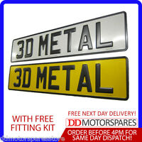 2 x METAL PRESSED 3D EMBOSSED ROAD LEGAL CAR NUMBER PLATES REGISTRATION NO GB
