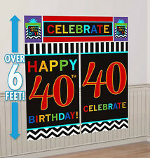 HAPPY 40th BIRTHDAY scene setter party wall decoration 6' celebrate milestone