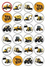 "24 x JCB Digger Tractor Dumper 1.5"" PRE-CUT Edible Rice Paper CupCake Toppers"