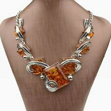 Tibet Silver Faux Amber Square Pendant Statement Handmade Collar Necklace