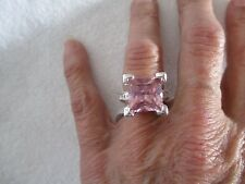NEW FASHION WOMEN'S STERLING SILVER PINK TOPAZ GEMSTONE RING SIZE 6