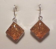 Authentic Polished Baltic Amber Earrings 15mm 925 Sterling Silver Leverback  #90