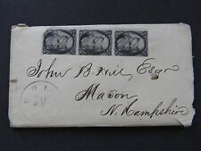 1866 ANTIQUE LETTER w COVER 3 BLACKJACK STAMPS OLD TOWN MAINE POSTMARK
