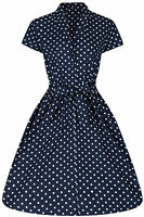 40's 50s Retro Vintage Style Blue Polka Dot Belted A-Line Shirt Dress New 8 - 28