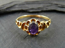 Antique Victorian Gold & Amethyst Ring - Size P / 8