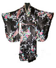 Charming Chinese Silk Women's Kimono Robe with obi Black