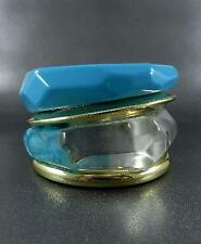 Blue Clear With Gold Four Lucite Bangle Bracelet