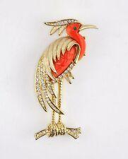 Vintage Unsigned Hattie Carnegie Enamel Rhinestone Lucite Crane Heron Brooch