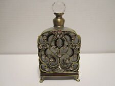 Antique Style Beautiful Perfume Bottle Frosted glass Ornate Metal Facing  pb1221
